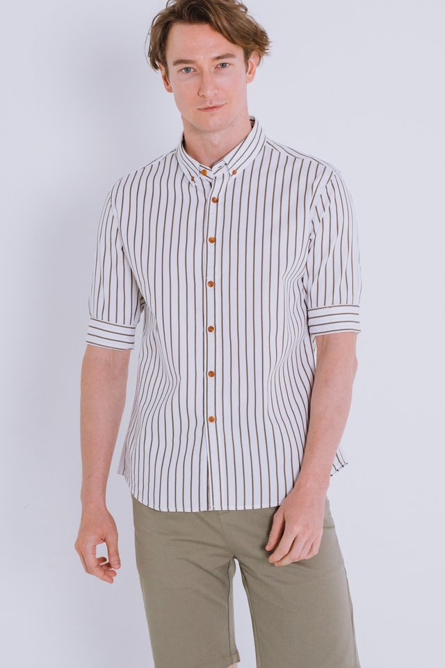 White Striped Half Sleeve Shirt