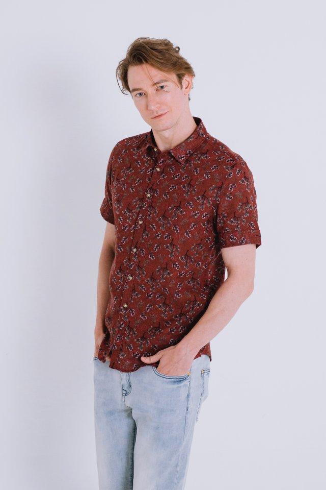 Merlot Floral Prints Linen Shirt