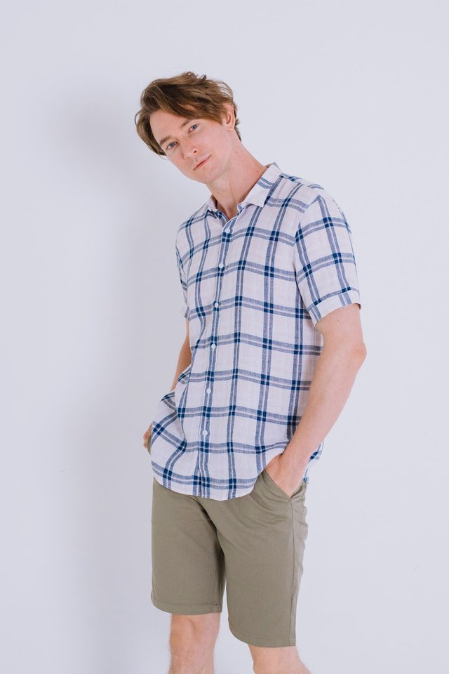 Blue Pink Checkered Linen Short Sleeve Shirt