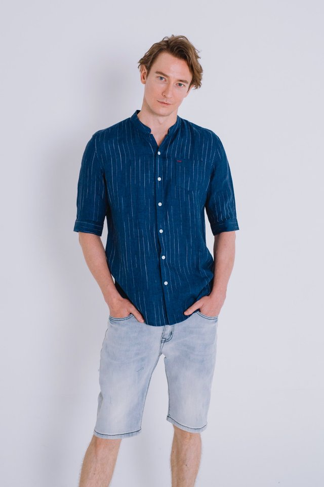 Blue V-neck Collar Linen Shirt