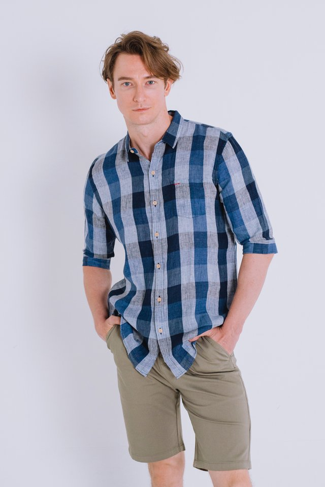 Blue Flannel Linen Shirt