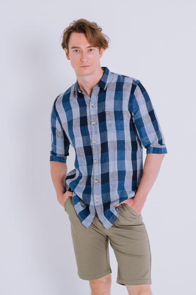 Blue Flannel Linen Shirt