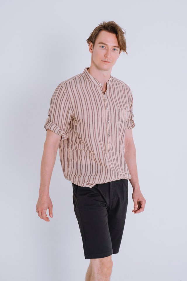 Sand Beige Striped Linen Shirt
