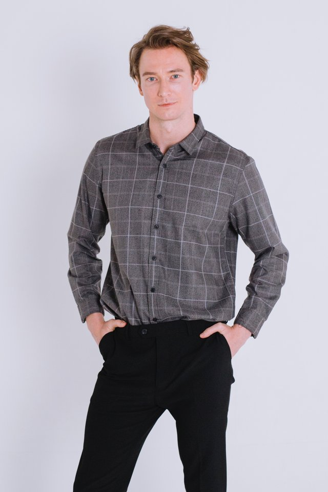 Checkered Dark Grey Button Down Long Sleeve Shirt