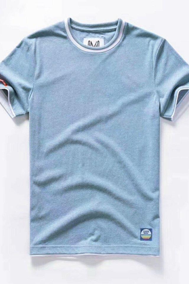 Arctic Blue Dual Tone Crew Neck Tee Shirt