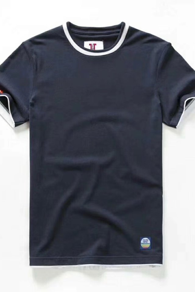Space Blue Dual Tone Crew Neck Tee Shirt