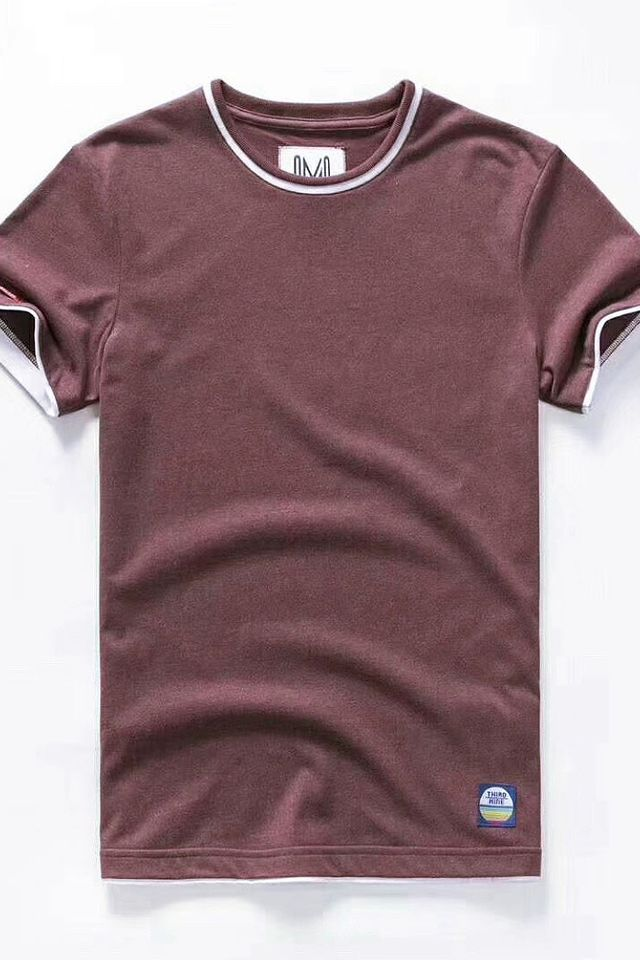 Maroon Dual Tone Crew Neck Tee Shirt