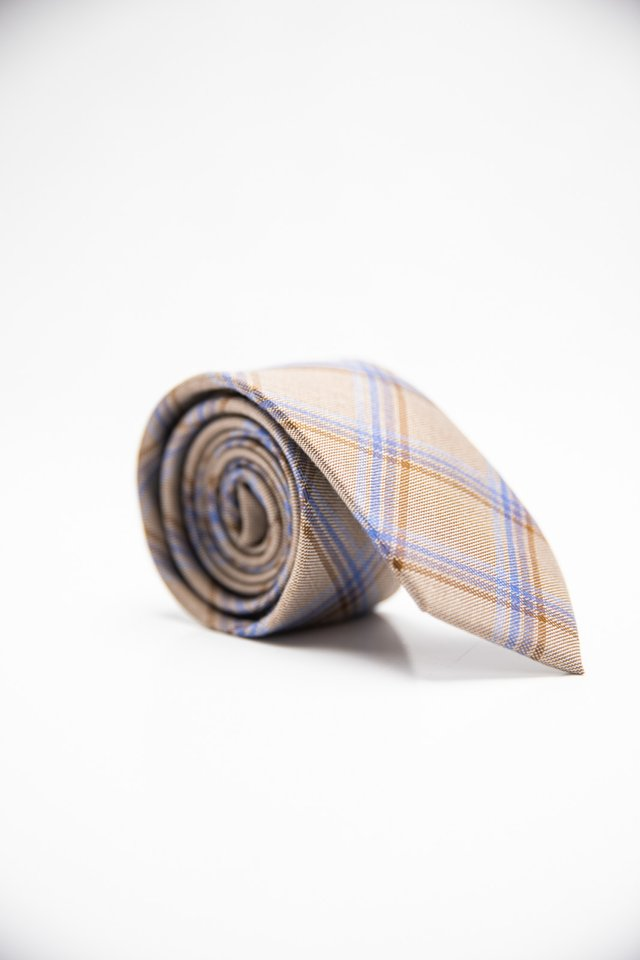 NEUTRAL PLAID TIE IN BEIGE