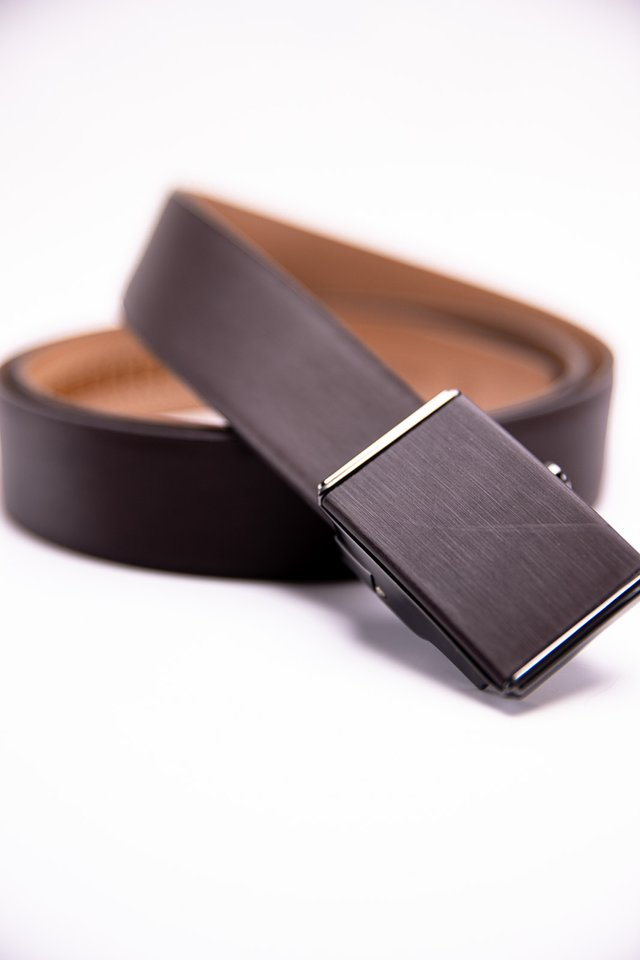 Square Buckle Autolock Belt in Brown