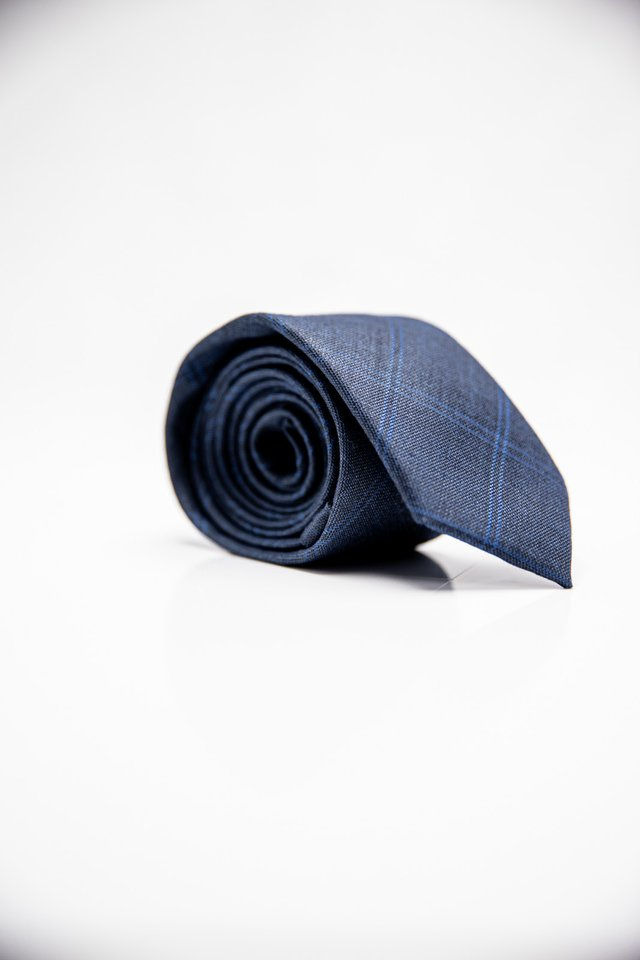 PLAID OVERLAPPED TIE IN BLUE