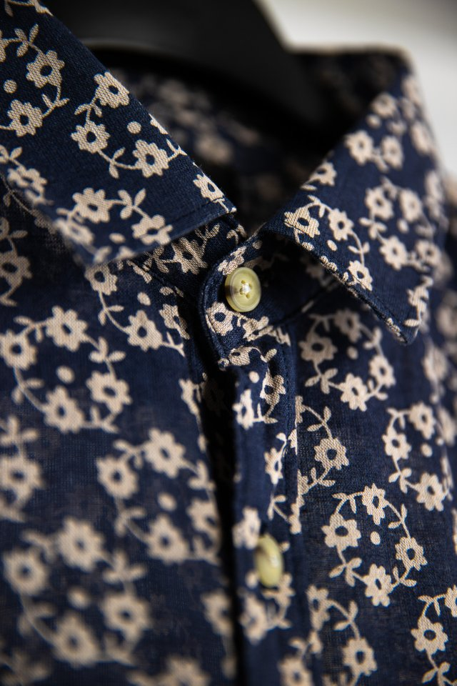 Navy Floral Prints Shirt in Short Sleeves