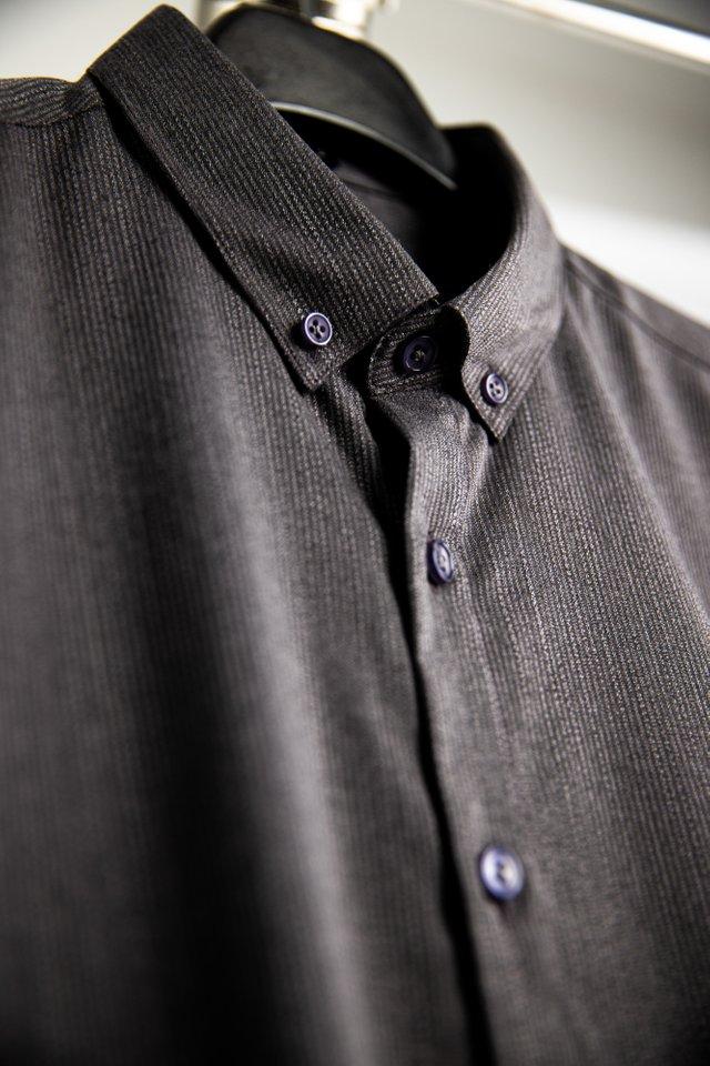 Anchor Grey Button Down Long Sleeve Shirt