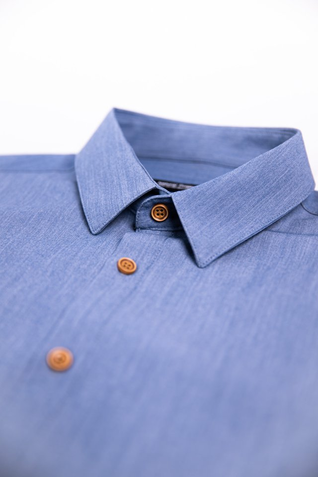 Button Down Denim Half Sleeve Shirt