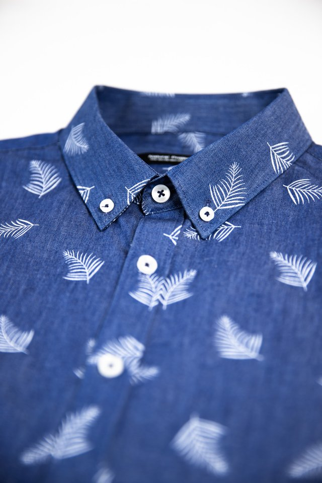 Feather Prints Denim Shirt
