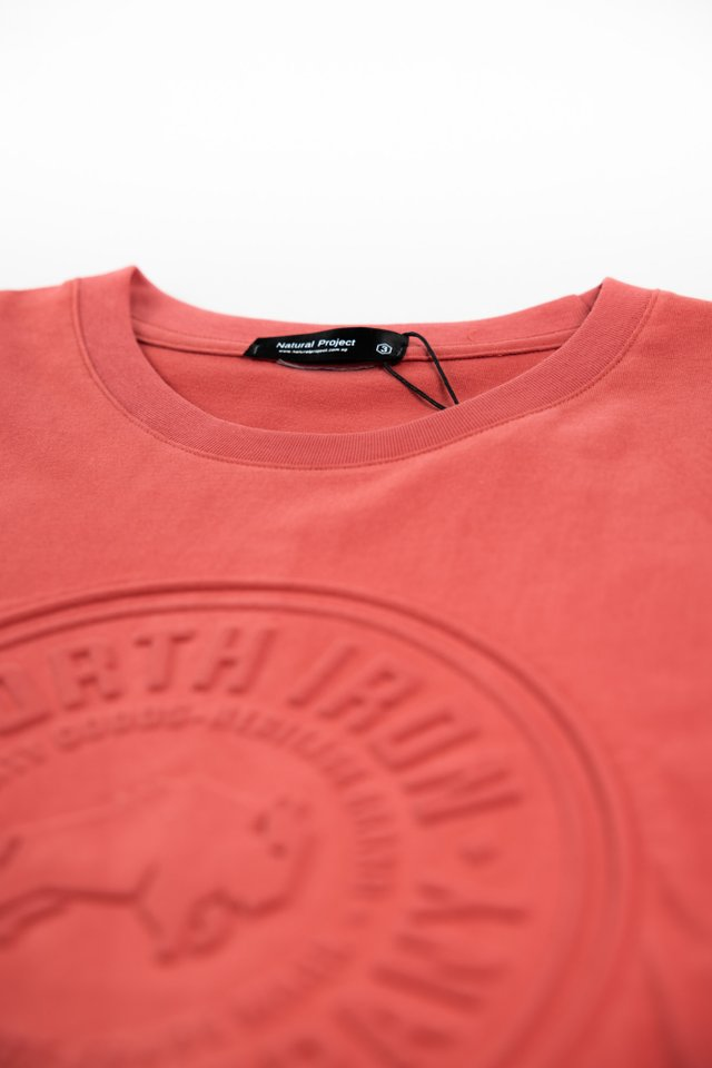 Embossed Crew Neck Tee in Red
