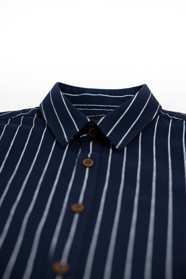 Navy Striped Half Sleeve Shirt